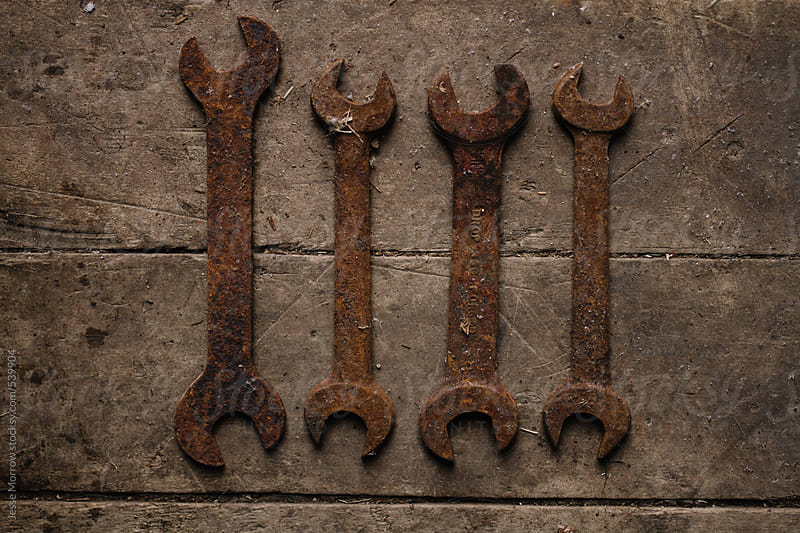 Vintage tools hammer nails and wrenches by Jesse Morrow for Stocksy United