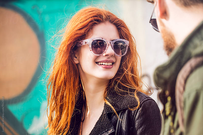 Ginger Woman Walking With Her Boyfriend by Lumina for Stocksy United