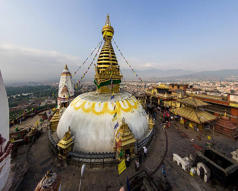Buddhist stupa Swayambhunath temple complex in Kathmandu. Nepal by Gabriel Diaz for Stocksy United