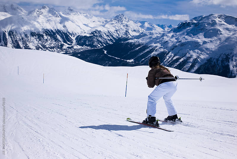 Snow skiing downhill by J.R. PHOTOGRAPHY for Stocksy United
