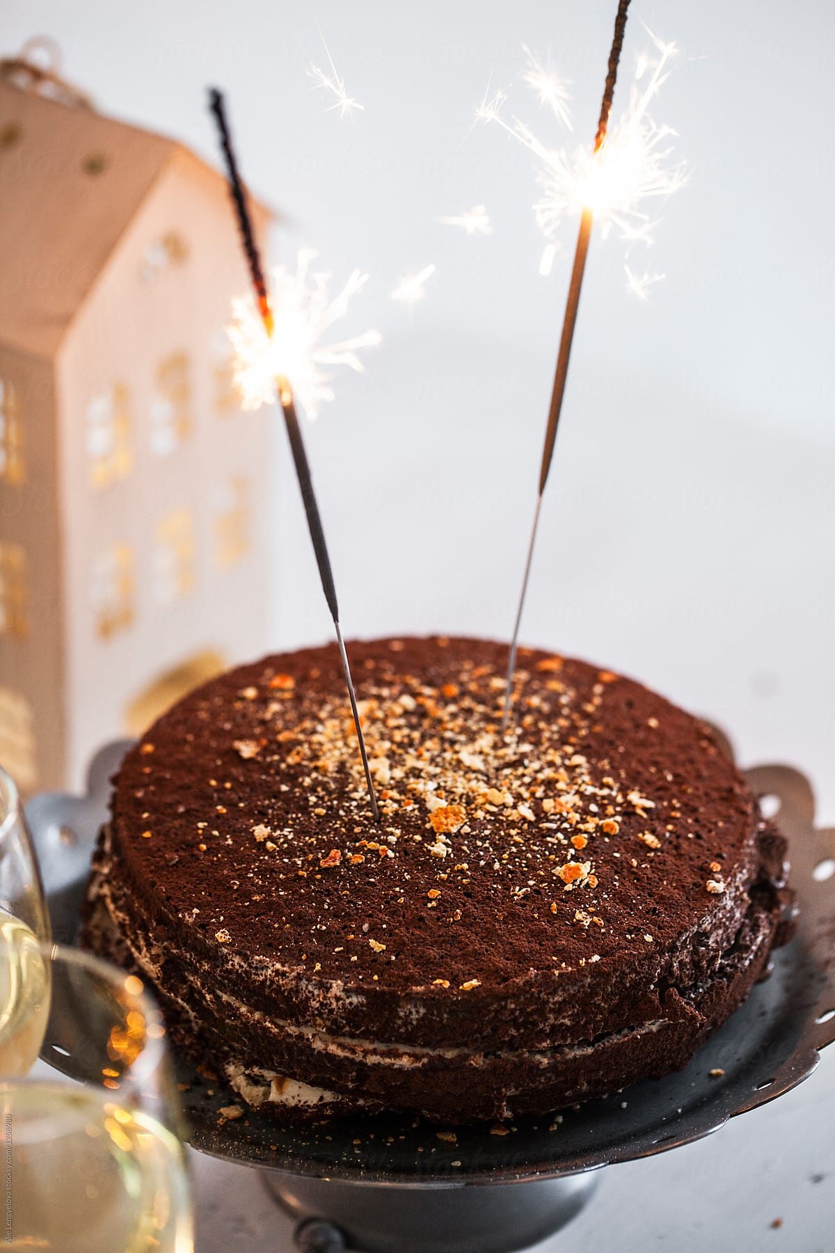 Lovely Birthday Cake With Sparkles