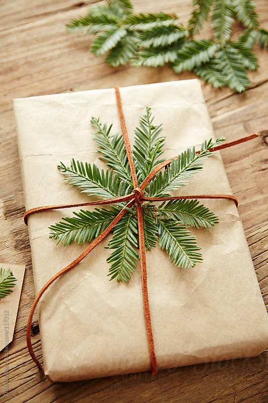 Gift wrapped in brown paper with pine branches attached by Trinette Reed for Stocksy United