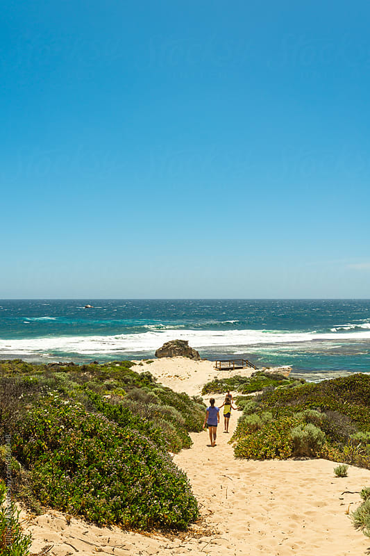 heading down a track to a scenic lookout, wild coastline of western australia by Gillian Vann for Stocksy United