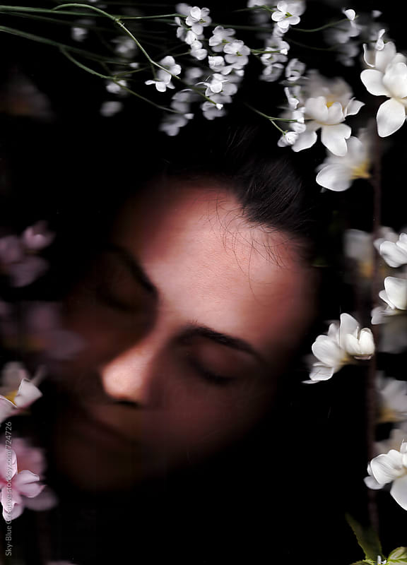 woman face with flowers. Scanography by Luca Pierro for Stocksy United