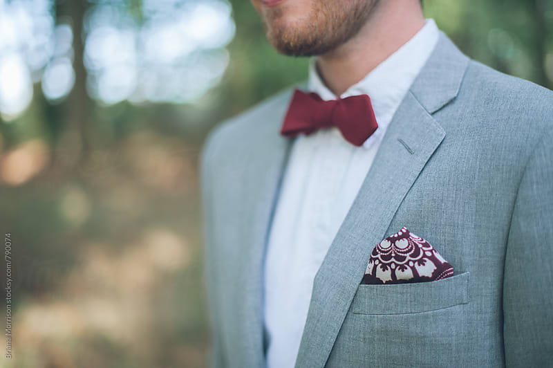 Profile Close Up of a Man in a Suit and Bowtie by Briana Morrison for Stocksy United
