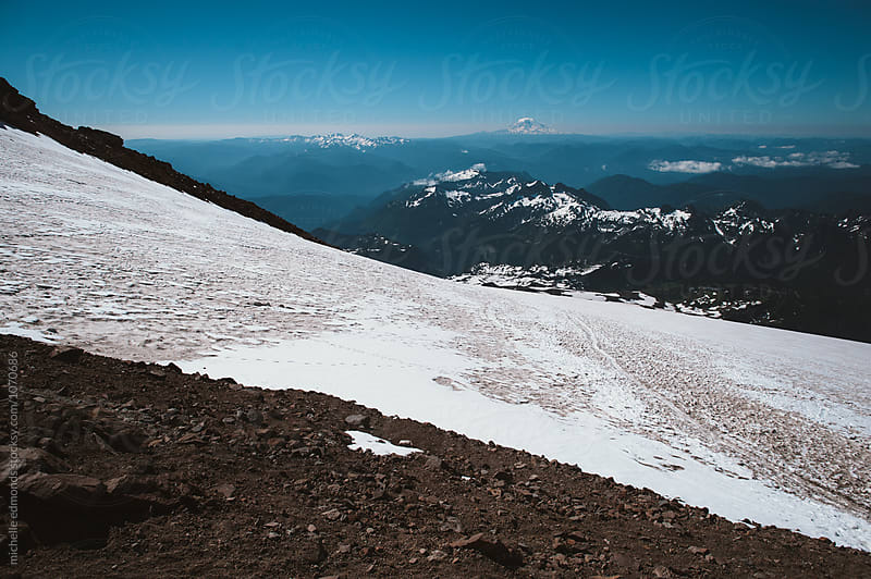 Hiking Trail/Snowfield at Mount Rainier National Park by michelle edmonds for Stocksy United