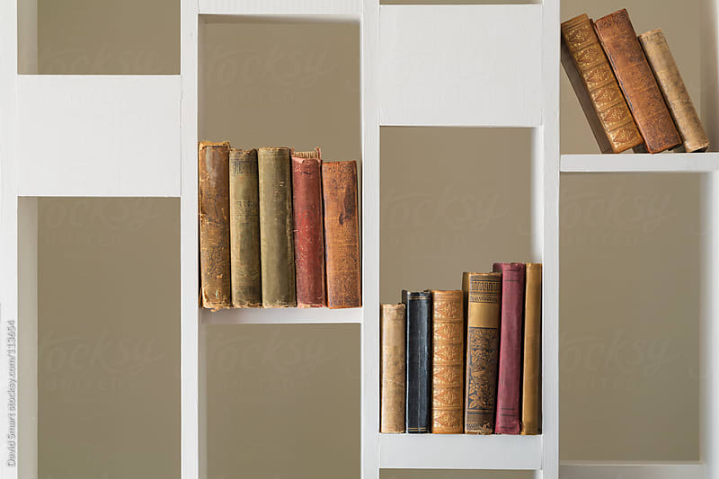 Several old books on an open bookshelf by David Smart for Stocksy United