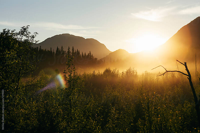 Mountainous Alaskan Sunset by Willie Dalton for Stocksy United