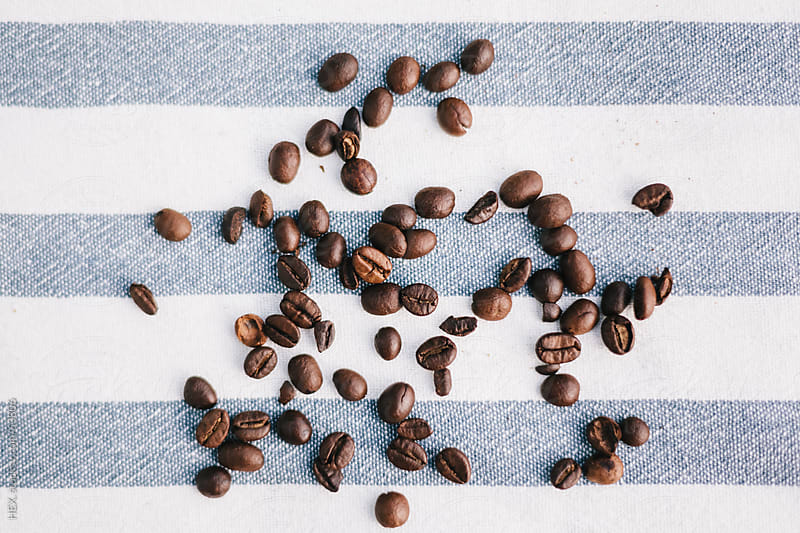 Still life with Coffee Beans On the Table . Over View by HEX. for Stocksy United