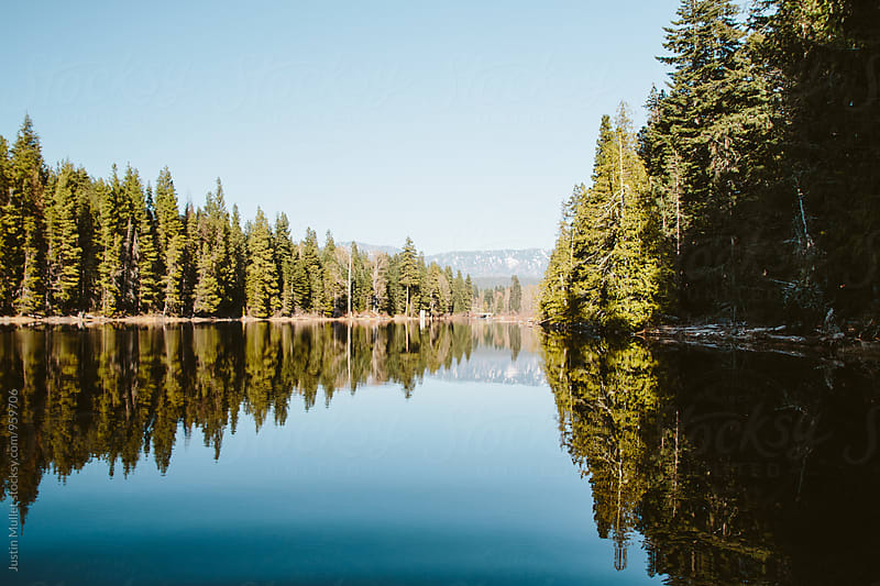 A perfectly calm lake on a sunny morning by Justin Mullet for Stocksy United