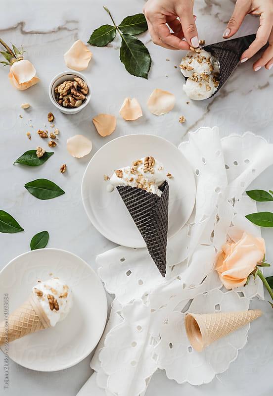 Ice cream with walnuts by Tatjana Zlatkovic for Stocksy United