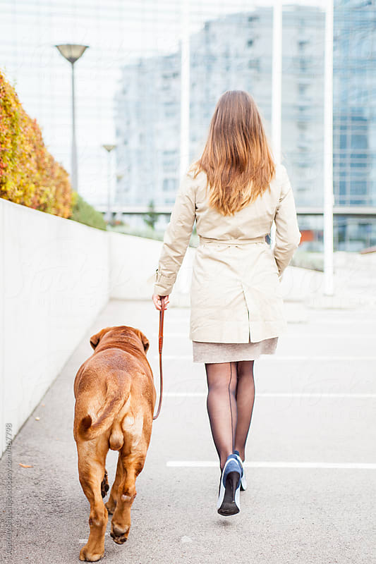 Woman with her dog walking-look from behind. by Audrey Shtecinjo for Stocksy United