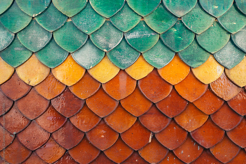 Colourful Roof Tiles Typical for Thai Buddhist Temples by Nemanja Glumac for Stocksy United