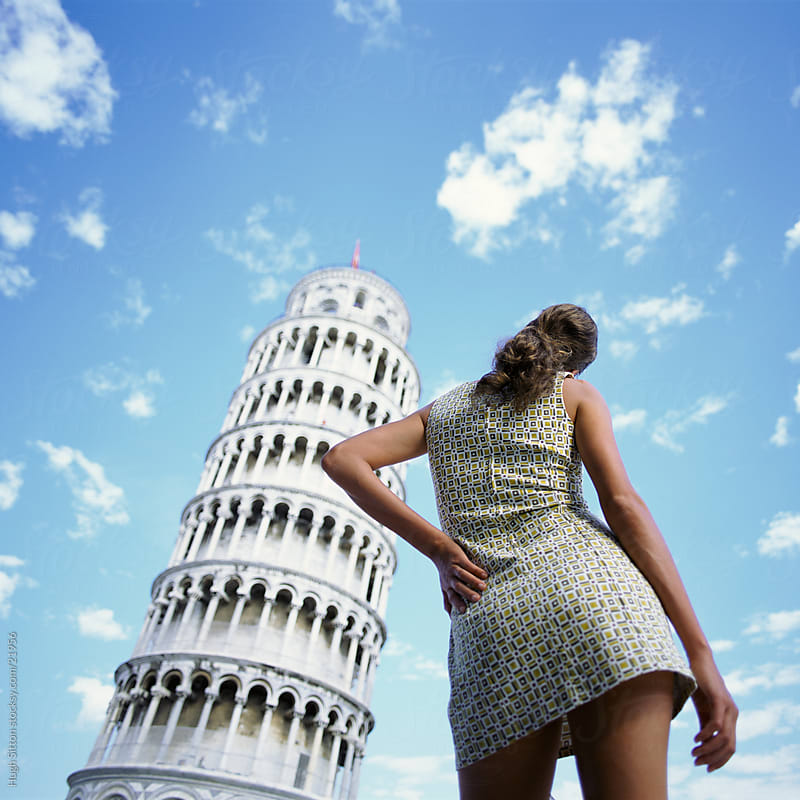 Woman posing infront of Leaning Tower of Pisa. Italy by Hugh Sitton for Stocksy United