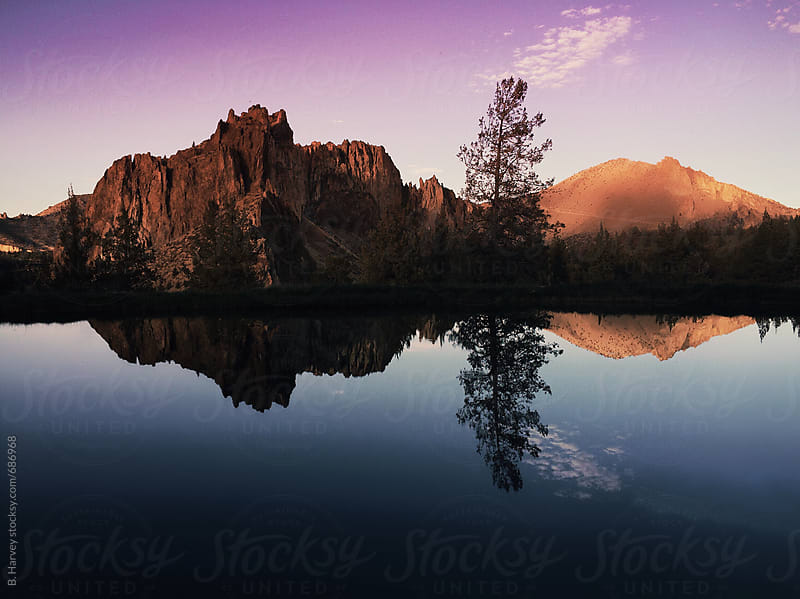 Reflection of Mountain at Sunset by B. Harvey for Stocksy United