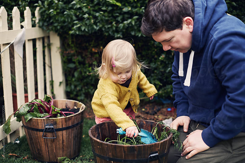 Father and daughter gardening by sally anscombe for Stocksy United