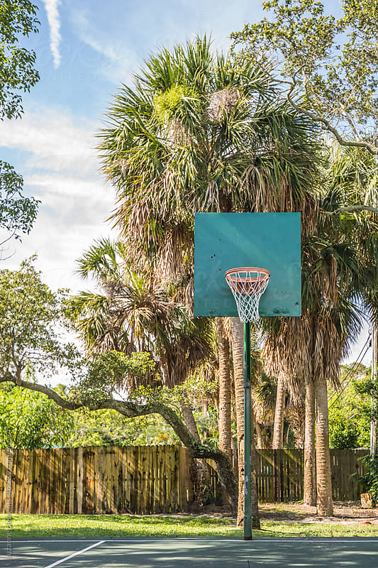 Rustic Basketball Net in the Park by suzanne clements for Stocksy United