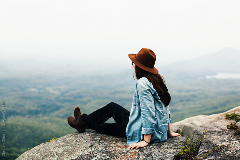 Female at overlook in Blue Ridge Mountains by Christian Gideon for Stocksy United
