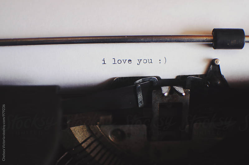 A vintage typewriter that says I love you by Chelsea Victoria for Stocksy United