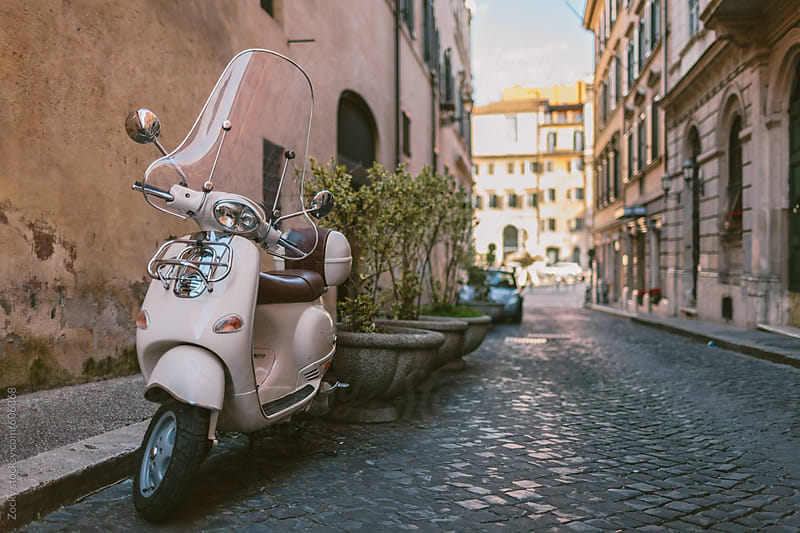 Italian vintage scooter in Rome by Zocky for Stocksy United