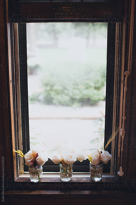 A Window with Flowers Arrangements  by Gabrielle Lutze for Stocksy United