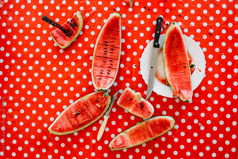 Remains of eaten watermelon by Marko Milovanović for Stocksy United