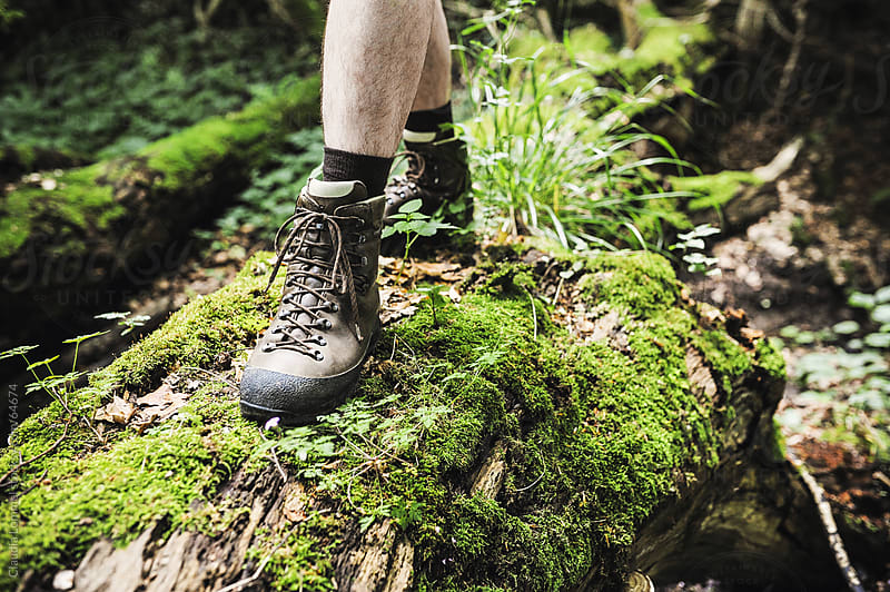 Close-up of a Man Crossing a Log Outdoors Wearing Hiking Boots by Claudia Lommel for Stocksy United