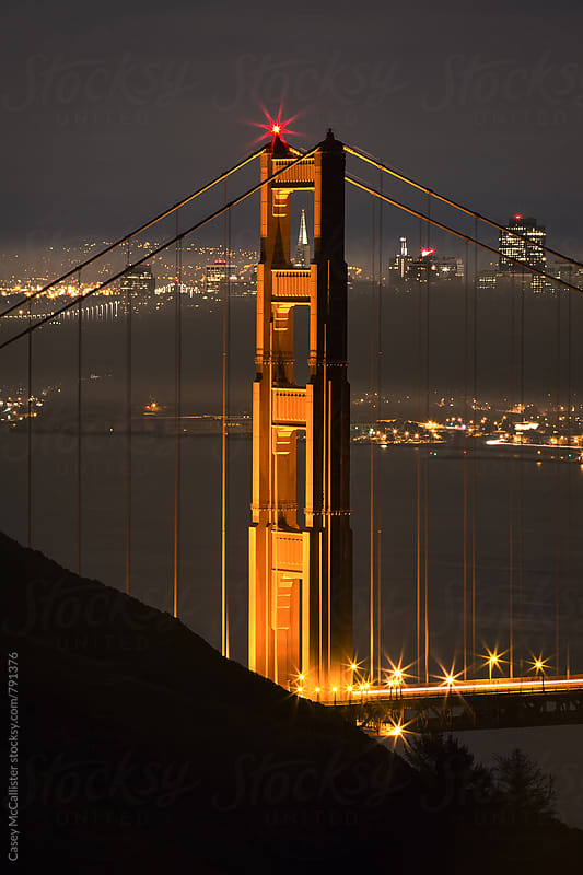 Golden Gate Bridge at Night by Casey McCallister for Stocksy United