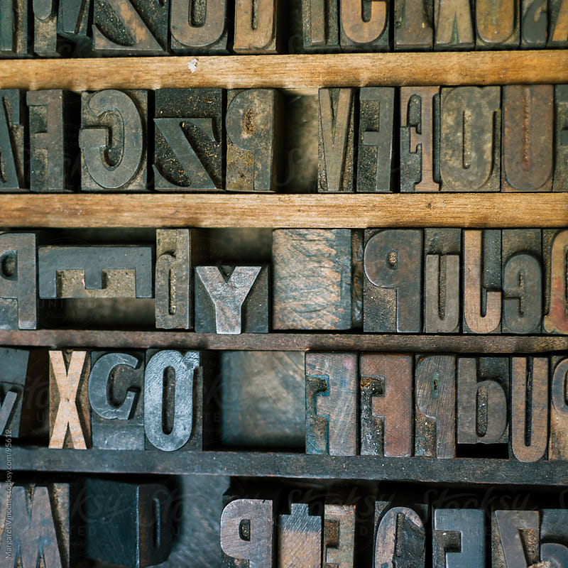 letter blocks for typesetting by Margaret Vincent for Stocksy United