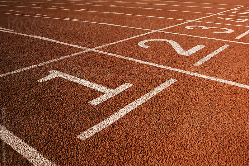 Numbers on running track by Maa Hoo for Stocksy United