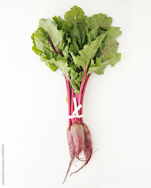 one bunch of beets on white background by Naoko Kakuta for Stocksy United