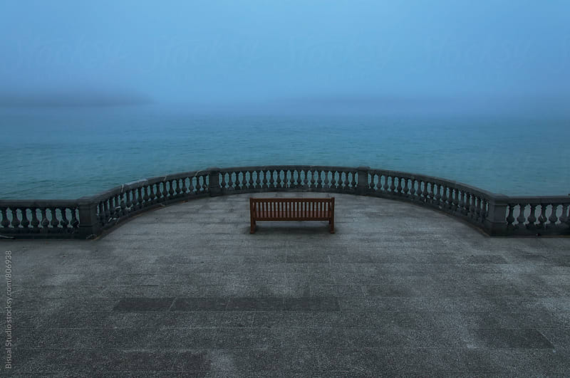 Bench with a view to the Ocean, San Sebastian by Bisual Studio for Stocksy United