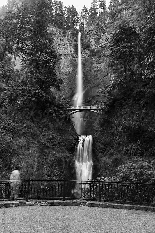 A ghostly image of a person looking at Multnomah Falls, Columbia River Gorge, Oregon by Adam Nixon for Stocksy United