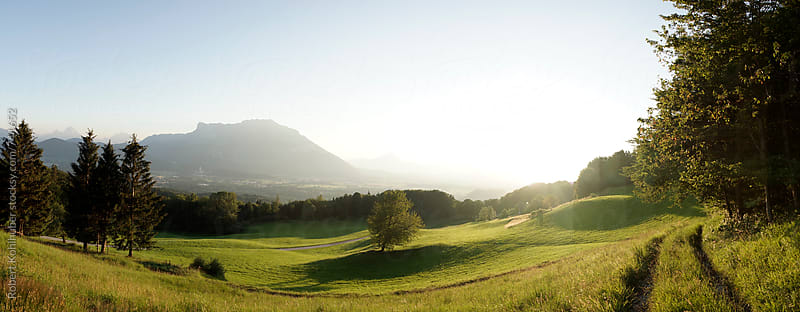 A panorama of green nature landscape near Salzburg, austria in summer by Robert Kohlhuber for Stocksy United