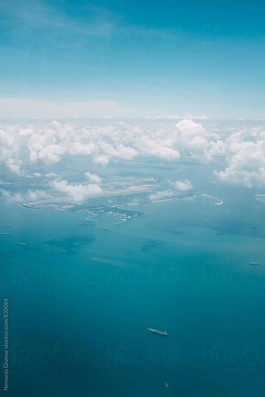 Beautiful Blue View Over Singapore Coast by Nemanja Glumac for Stocksy United