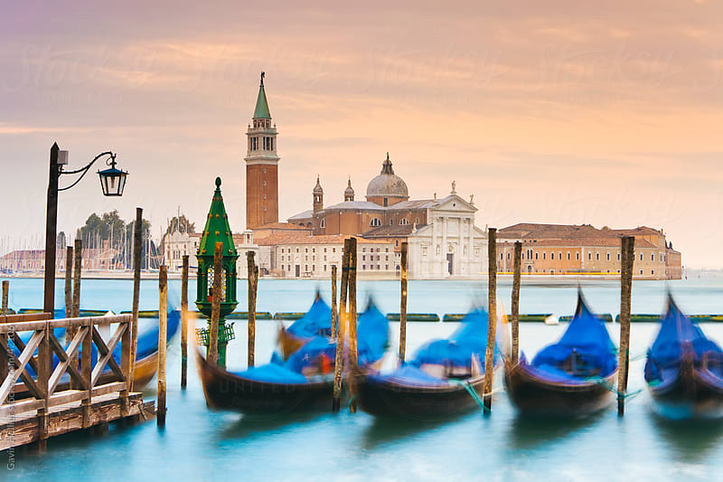 Quay at St Mark's Square with Gondolas and the view to San Giorgio Maggiore Island, Venice, Italy, Europe by Gavin Hellier for Stocksy United