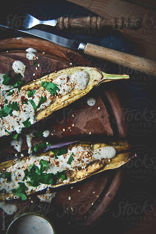 Roasted eggplant by Sophia van den Hoek for Stocksy United