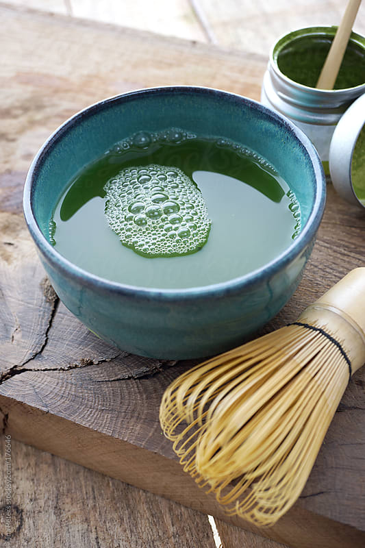 Food: Matcha Tea In A Bowl With Bamboo Wisker by Ina Peters for Stocksy United