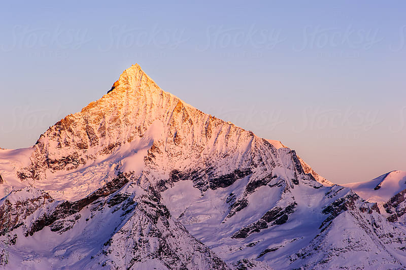 Weisshorn at dawn by Peter Wey for Stocksy United