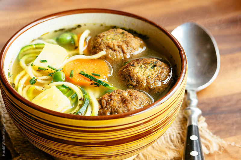 Vegetable Soup with Falafel Balls by Harald Walker for Stocksy United