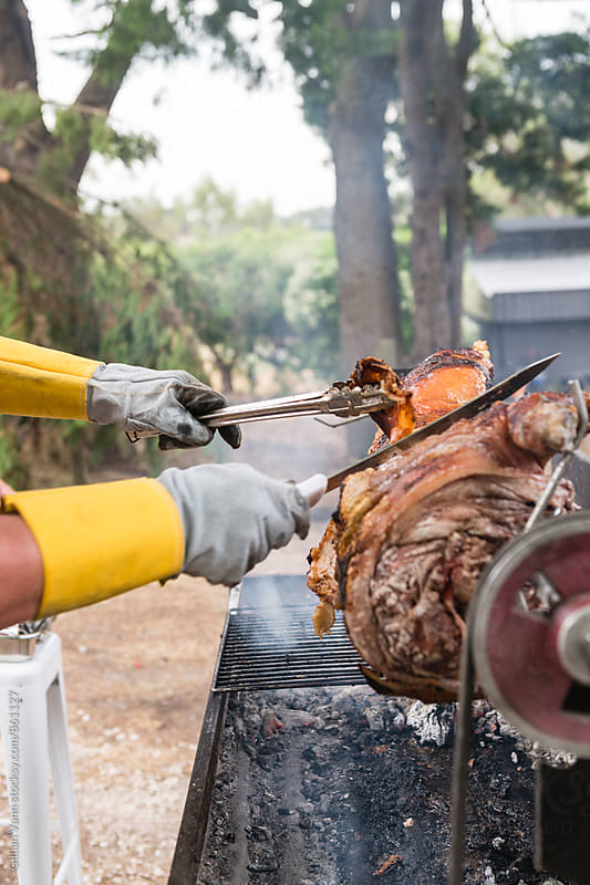 carving the spit pork roast by Gillian Vann for Stocksy United