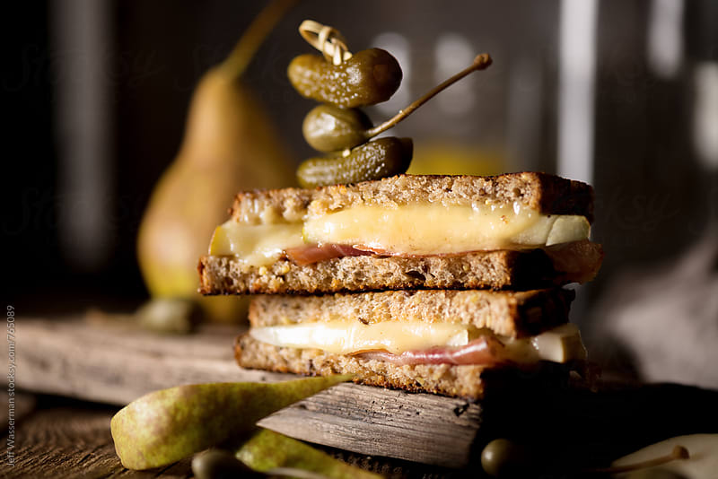 Grilled Cheese with Prosciutto and Pear with Garnish by Jeff Wasserman for Stocksy United