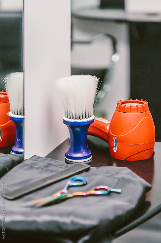Barber Tools on a Dressing Table by VICTOR TORRES for Stocksy United