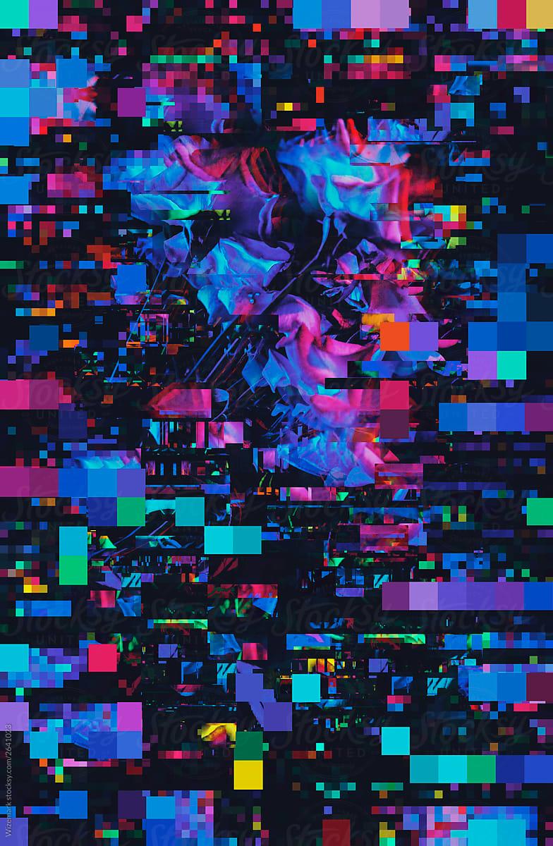Dark  Vibrant Floral Pixel  Glitch Background By Wizemark