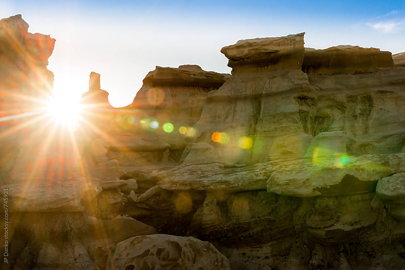 Bisti Badlands Wilderness Area Desolate Hoodoo Landscape New Mexico at Sunrise by JP Danko for Stocksy United
