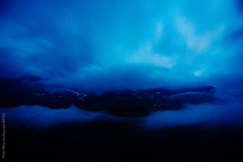 Panorama from Gauli mountain hut at night by Peter Wey for Stocksy United