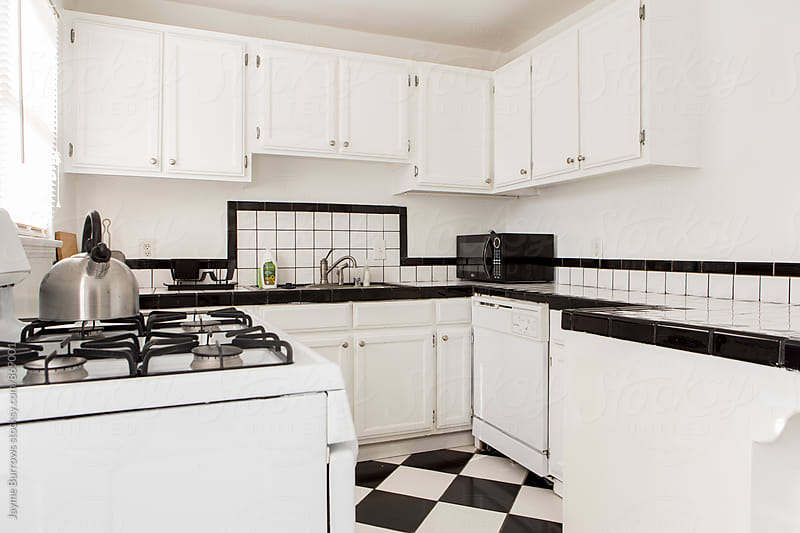 Black and White Apartment Kitchen by Jayme Burrows for Stocksy United
