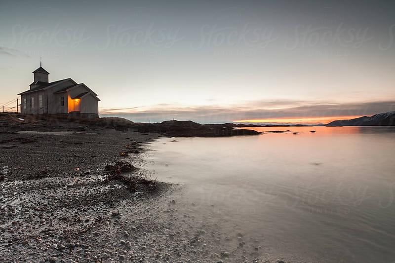 Church on a Beach with Midnight Sun by Marilar Irastorza for Stocksy United