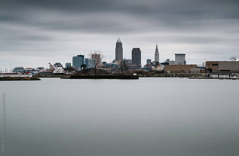 Cleveland city skyline in winter by Matthew Spaulding for Stocksy United