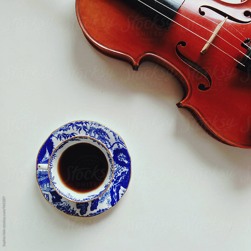 Coffee and violin by Sophia Hsin for Stocksy United